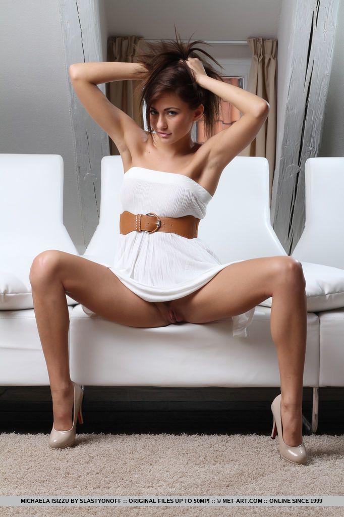 Naked sexy brunette strips