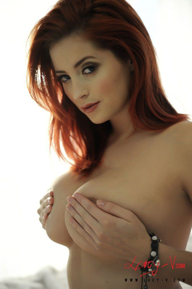Sexy topless redhead