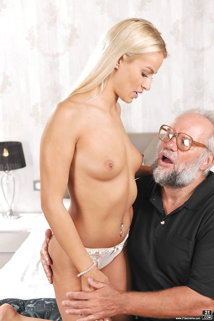 Lovely blonde fucked by old man