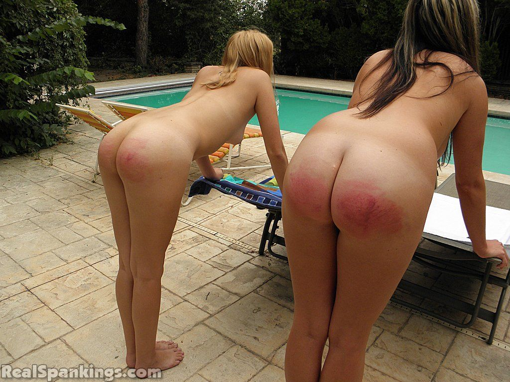 Spanked bare ass wife