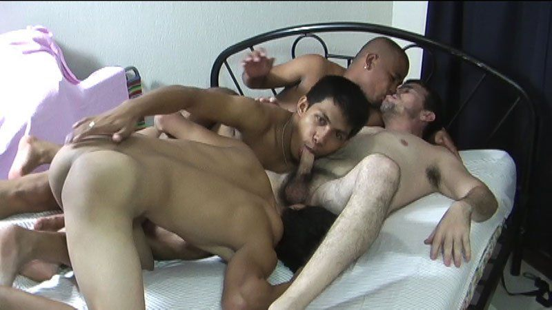 Orgy jizzing on cute twink guy