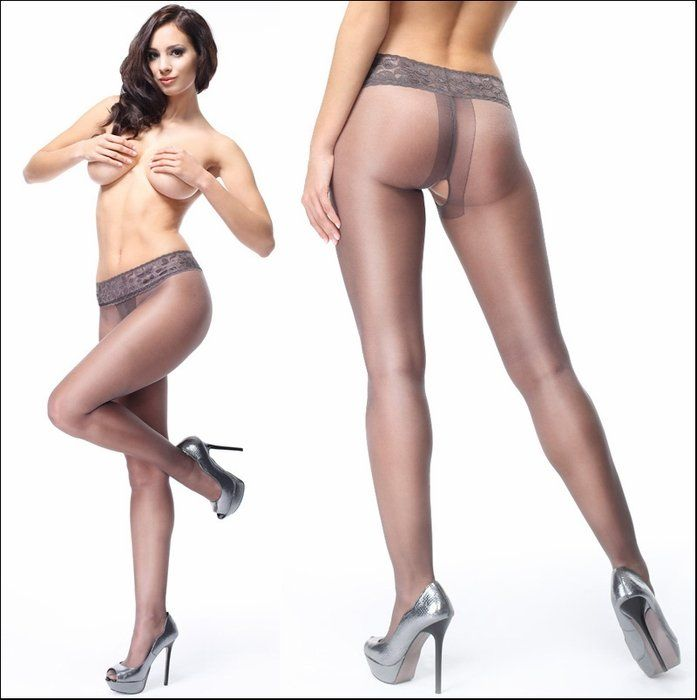 In crotchless pantyhose