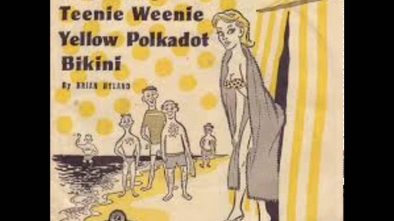 She wore an itsy bitsy yellow poka dot bikini